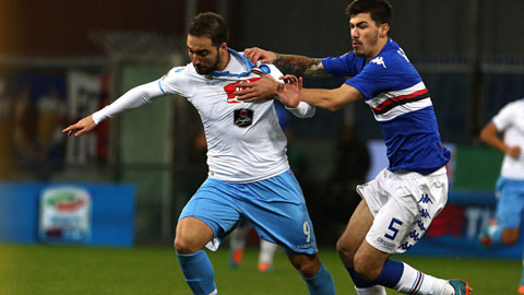 Napoli bị Sampodia cầm hòa 1-1: Higuain vuột mất kỷ lục