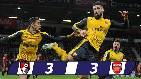 Giroud ghi bàn thắng muộn, Arsenal thoát thua ngoạn mục