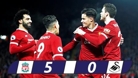Vùi dập Swansea, Liverpool lại ấm chỗ trong top 4