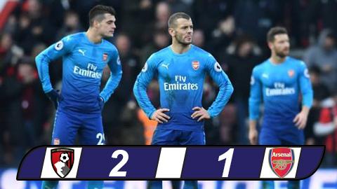 Bournemouth 2-1 Arsenal: Vắng Sanchez và Oezil, Arsenal thua ngược