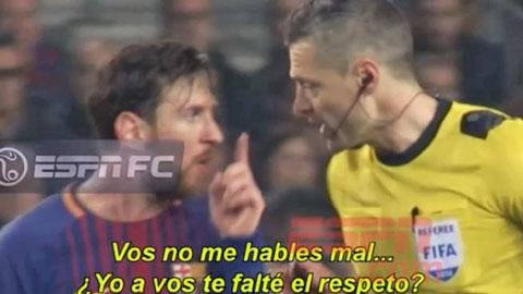 Messi sửng cồ với trọng tài vì bị quát tháo