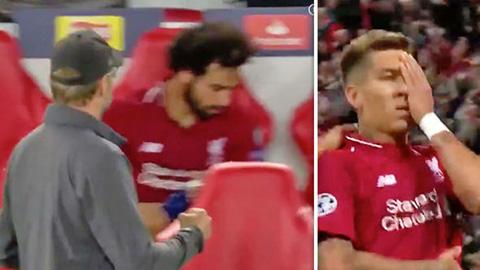 Salah ném chai nước tức giận khi Firmino ghi bàn