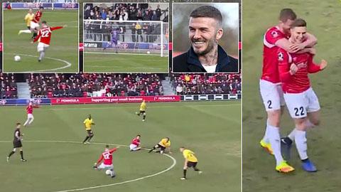 Cầu thủ Salford tái hiện bàn thắng kinh điển của 'ông chủ' Beckham
