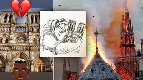 Neymar, Mbappe, Pogba đau buồn vì Nhà thờ Đức Bà bị cháy