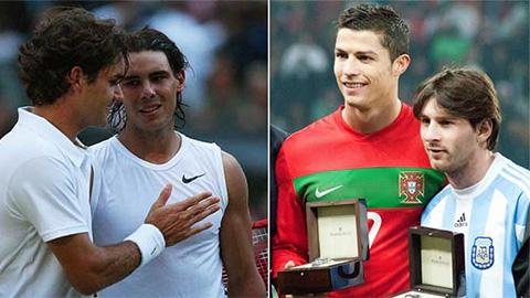 Messi và Ronaldo được ví với 2 huyền thoại quần vợt Federer và Nadal
