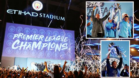 Man City ăn mừng hoành tráng cùng hàng vạn fan tại tổ ấm