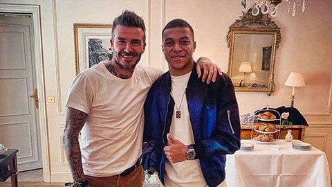 Mbappe rạng rỡ khi gặp lại Beckham