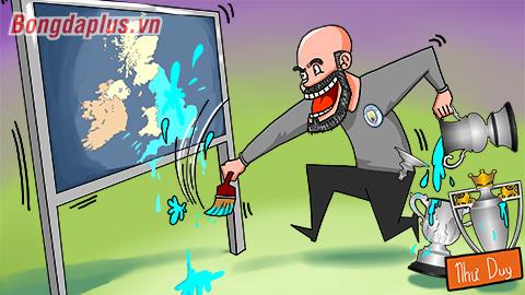 Biếm họa: Pep Guardiola nhuộm xanh xứ Anh