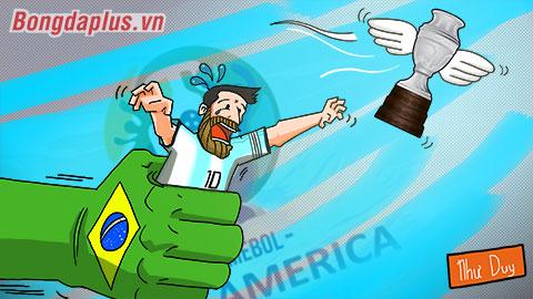 Biếm họa: Messi thêm một lần bị 'bóng Brazil' đè