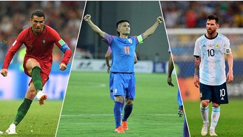 Sao Ấn Độ ghi bàn vượt Messi, đe dọa Ronaldo