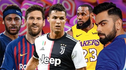 Ronaldo là bá chủ của giới cầu thủ trên Instagram