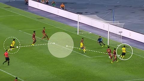 Safawi Rasid nhận bóng ở đường biên trong, sát đường biên ngang rồi trả ngược ra để Syafiq Ahmad ghi bàn