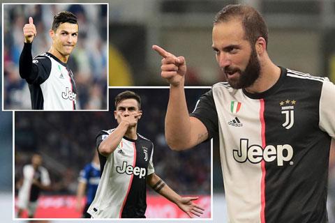 Ở trận derby d'Italia cuối tuần qua, lần đầu tiên bộ ba Dybala - Higuain - Ronaldo cùng có mặt trên sân