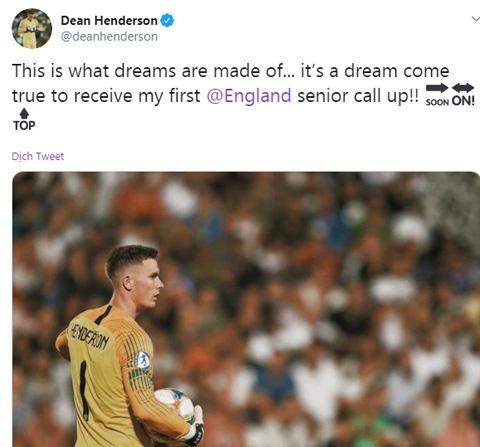 Henderson phấn khích khi lần đầu tiên lên tuyển Anh
