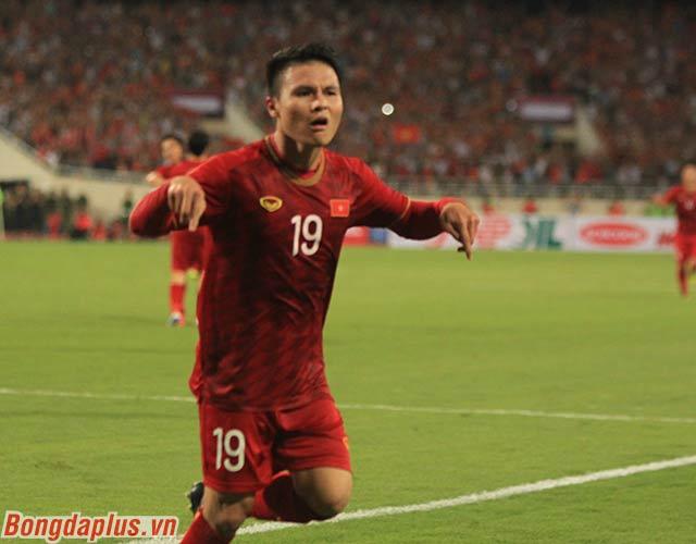 Niềm vui của Quang Hải. Anh đã giúp Việt Nam khai thông bế tắc trước Malaysia