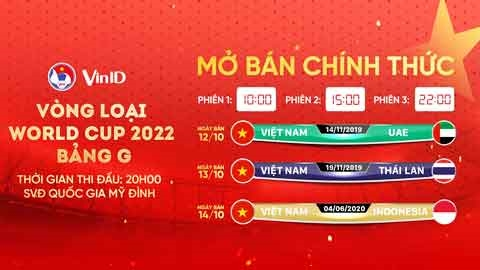Đã bán hết vé trận Việt Nam gặp UAE và Thái Lan