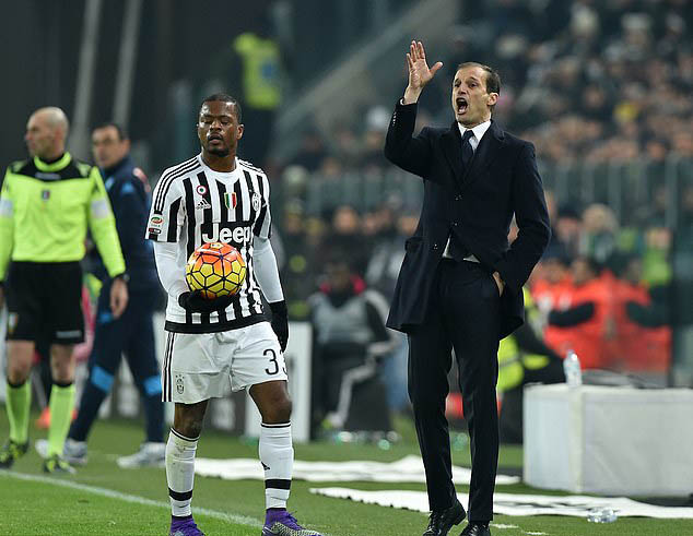Evra từng là học trò của Allegri ở Juventus