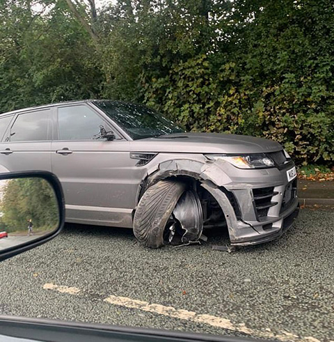 Chiếc xe gặp nạn của Aguero