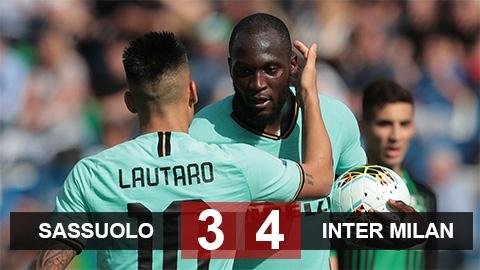 Sassuolo 3-4 Inter: Chiến thắng hú vía
