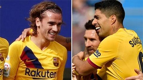 Tổng hợp vòng 9 La Liga: Messi, Griezmann, Suarez đưa Barca lần đầu lên đỉnh