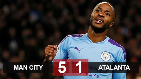 Man City 5-1 Atalanta: Sterling lập hat-trick, Man City toàn thắng 3 trận
