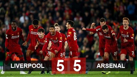 Liverpool 5-5 (pen 5-4) Arsenal: Mưa bàn thắng trên sân Anfield