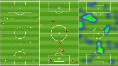 Biểu đồ của Griezmann trong trận đấu với Levante. Bên trái: Số lần chạm bóng. Giữa: Số lần thu hồi bóng. Bên phải: Biểu đồ nhiệt