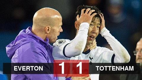 Everton 1-1 Tottenham: Son nhận thẻ đỏ, Tottenham nối dài mạch không thắng