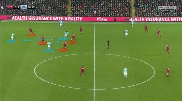 Salah cắt đường chuyền khi đối phương mạo hiểm phối hợp bên phần sân nhà