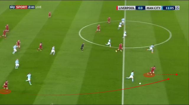 Man City mất bóng trong tình huống đá phạt và Liverpool phản công với đường chuyền vượt tuyến cho Salah