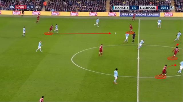 Oxlade-Chamberlain nhận bóng và có nhiều không gian để xử lý cũng như dẫn bóng về phía trước