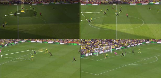 Một tình huống hàng thủ của Man City để lọt người dẫn tới bàn thua.