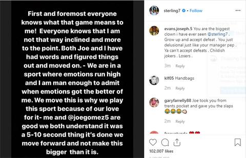Sterling phân trần trên Instagram
