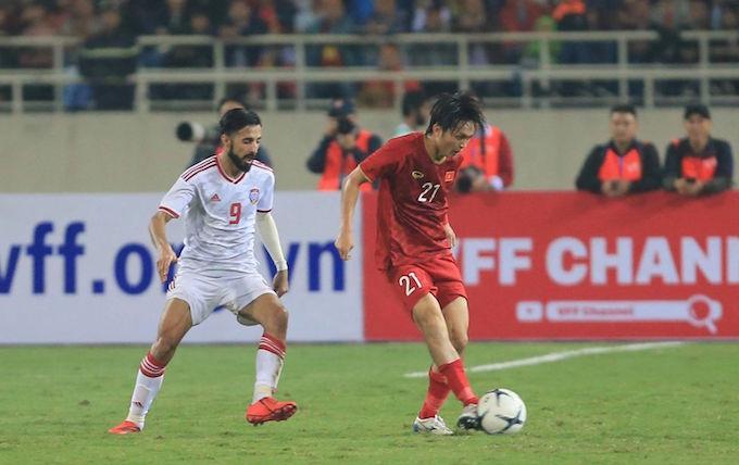 Tuấn Anh xuất sắc nhất tuyển Việt Nam ở trận thắng UAE. Ảnh: Đức Cường