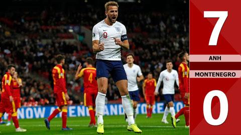 Anh 7-0 Montenegro(Vòng loại Euro 2020)