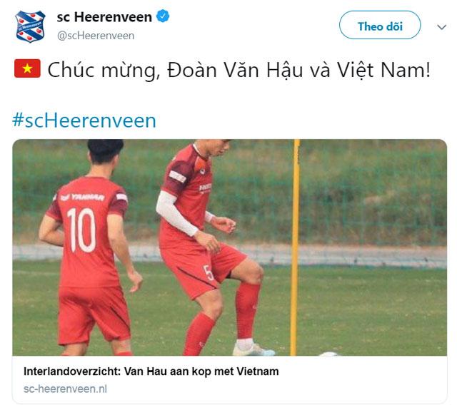 Heerenveen chúc mừng Văn Hậu và ĐT Việt Nam sau chiến thắng trước UAE