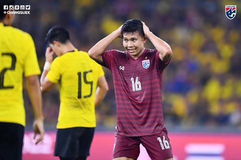 Cầu thủ Thái Lan buồn bã sau trận thua trên đất Malaysia
