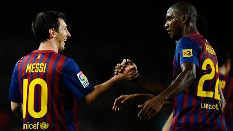 Lionel Messi và Abidal khi còn sát cánh bên nhau