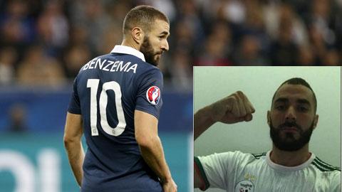 Benzema từng đăng ảnh mặc áo ĐT Algeria lên Twitter (ảnh nhỏ)