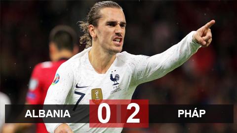 Albania 0-2 Pháp: Griezmann ghi bàn sau 5 tháng, Pháp giành ngôi đầu bảng H
