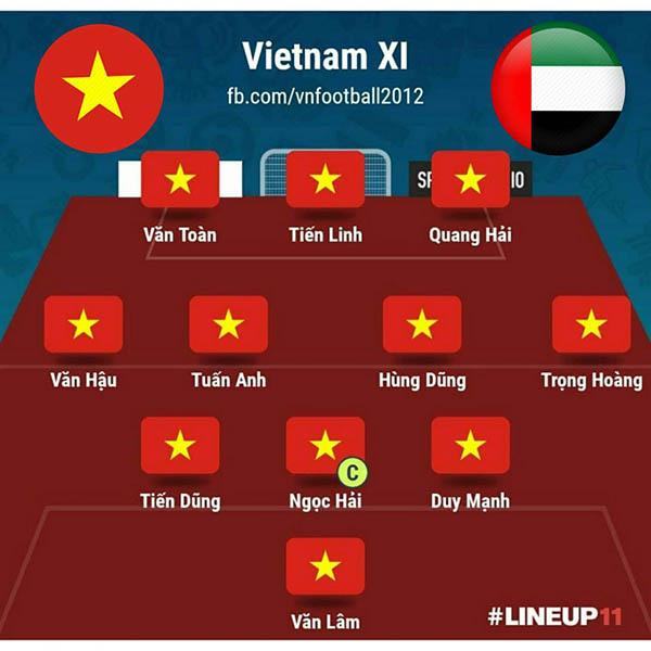 Ở trận thắng UAE với tỷ số 1-0, ông Park chỉ thay Đức Huy bằng Tuấn Anh. Tuy vậy, sự thay đổi này mang tới hiệu quả tuyệt vời khi Tuấn Anh chơi cực kỳ ấn tượng và góp công lớn giúp Việt Nam đánh bại đối thủ tới từ Tây Á