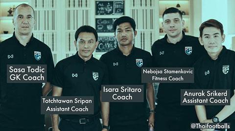 Ông Todic (thứ 1 từ trái sang) là HLV thủ môn của Thái Lan