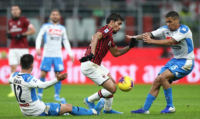 Milan và Napoli cầm chân nhau với tỷ số 1-1