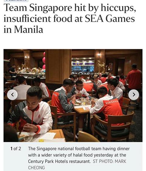 Các VĐV Singapore phải xin thêm thức ăn từ BTC