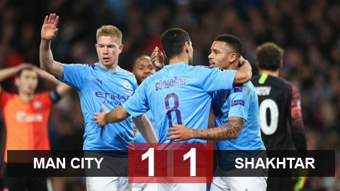 Man City 1-1 Shakhtar Donetsk: Chủ nhà giành vé vào vòng 1/8
