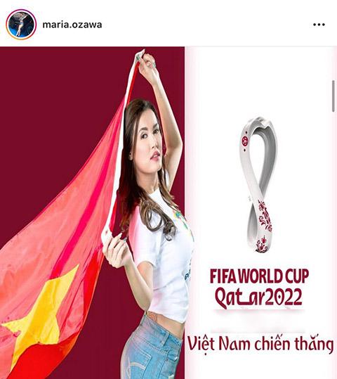 Maria Ozawa cổ vũ ĐT Việt Nam vì lý do liên quan đến quảng cáo cho một hãng cá cược