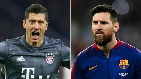 """Lewandowski lập """"cú poker thần tốc"""" để sánh ngang Messi"""