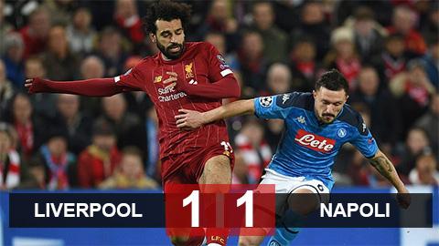 """Liverpool 1-1 Napoli: """"Lữ đoàn đỏ"""" chưa thể đoạt vé vào vòng knock-out"""