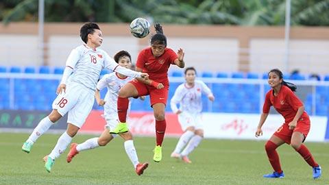 ĐT nữ Việt Nam vượt trội hoàn toàn so với ĐT nữ Indonesia và liên tục tạo ra cơn mưa bàn thắng. Ảnh: Trí Công-Đức Cường