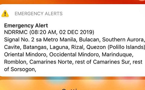 Tin nhắn cảnh báo bão của Trung tâm khí tượng thuỷ văn của Philippines